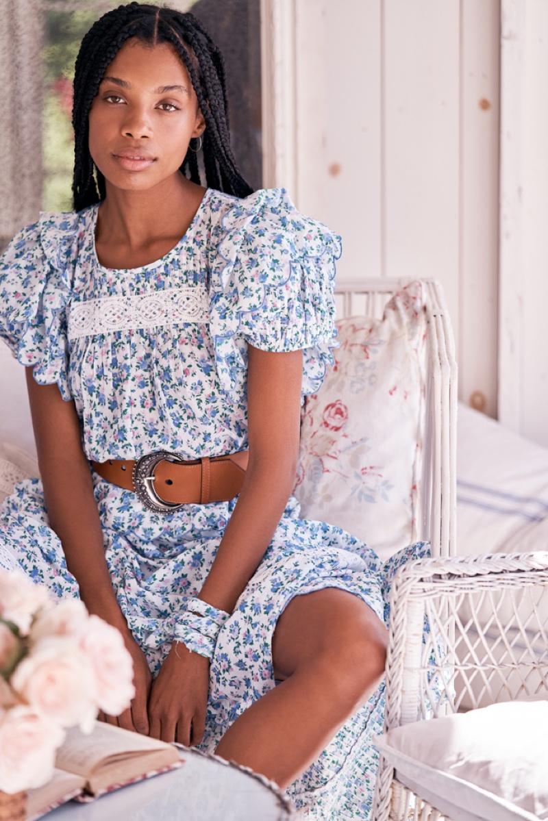 Raissa Leme poses for LoveShackFancy spring 2021 lookbook.