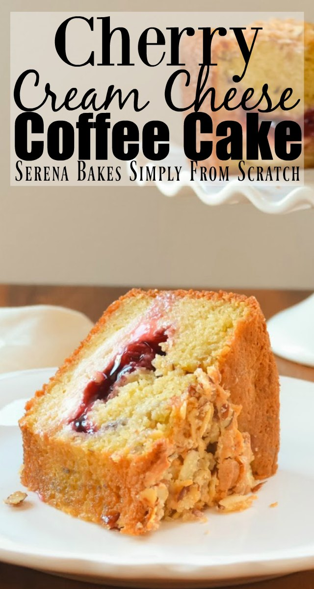Cherry Cream Cheese Coffee Cake recipe is perfect for the holidays for breakfast or brunch from Serena Bakes Simply From Scratch.
