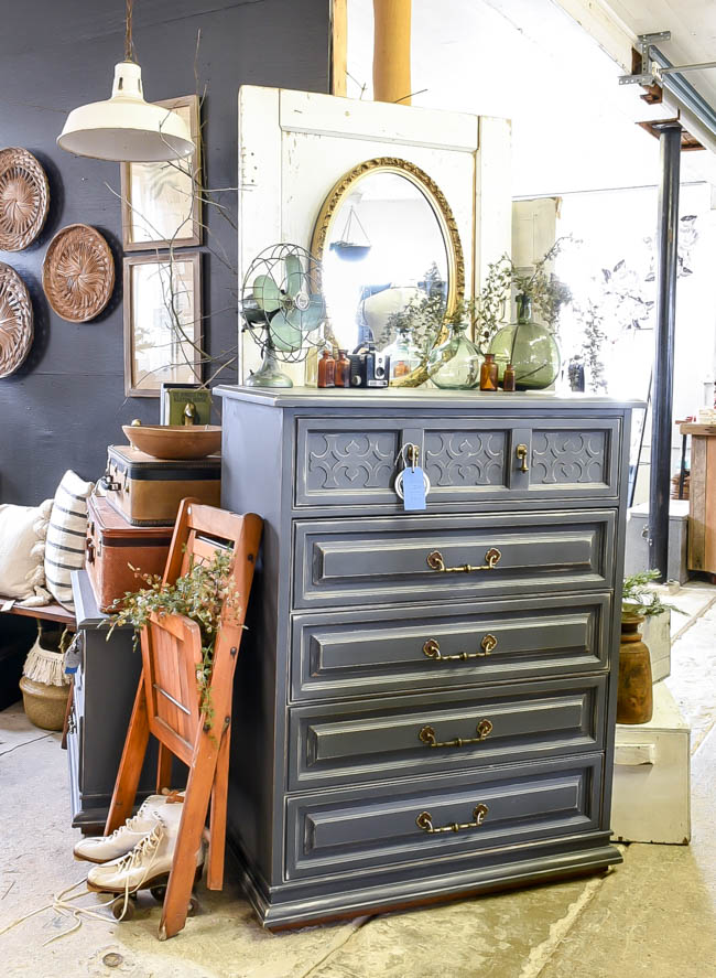 Distressed boho inspired painted dresser