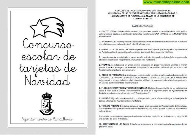 El área de Cultura del Ayuntamiento de Puntallana convoca un concurso escolar de Tarjetas de Navidad