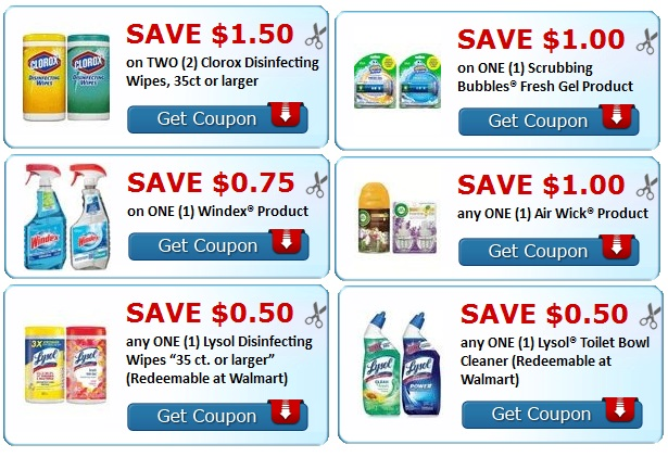 Print Air wick, Lysol, Windex, scrubbing bubbles and clorox Coupons