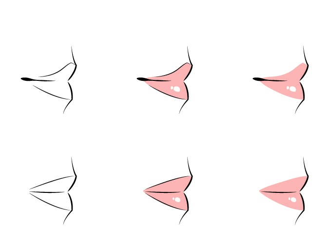 Drawing anime lips side view example