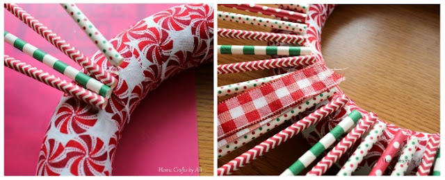 christmas holiday wreath decor DIY fabric straws