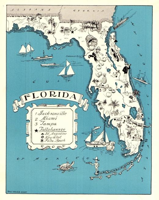 Florida State Maps Antique Vintage