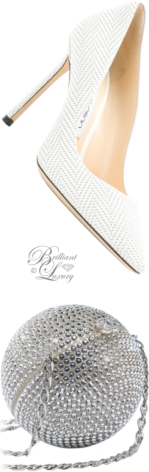 Brilliant Luxury ♦ Chanel silver strass minaudiere and Jimmy Choo white Romy pumps