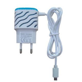Travel Charger Motif Ulir 2 Output Port USB 2.1A Casan Kabel LED Micro
