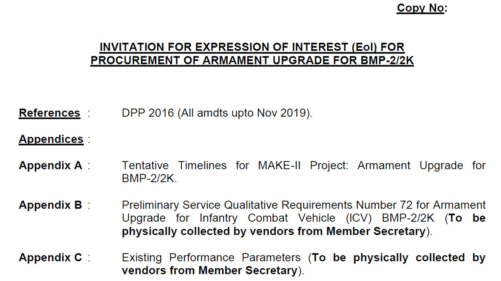 Expression Of Interest - EOI - Armament Upgrade of BMP-22K - Indian Army - 01