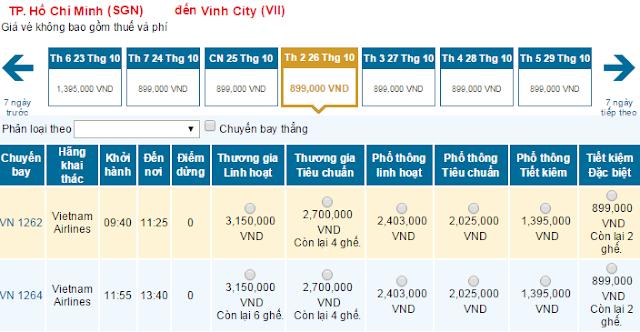 Giá vé máy bay từ TPHCM đi Vinh