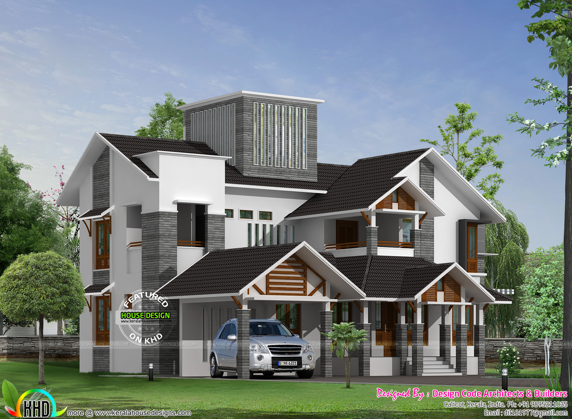 389 Sq Yd Modern Sloping Roof Home Architecture Kerala