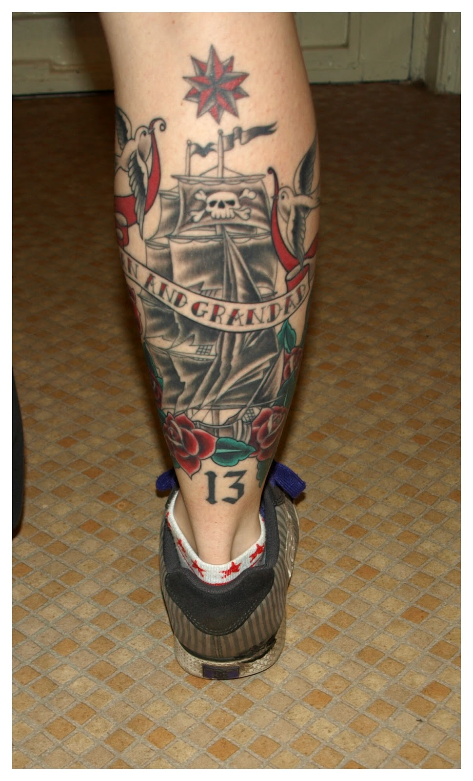 tattoo, ink, ship, old school, roses, swallow, traditional, sailor jerry, pirate, swallow, star, nautical, 13, thirteen, leg, calf, traditional,