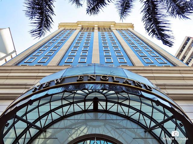 Perspectiva inferior da fachada do Edifício New England - Higienópolis - São Paulo