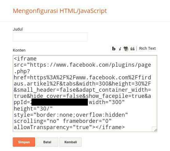 Menaruh kode iframe widget fans page di widget HTML/Javascript