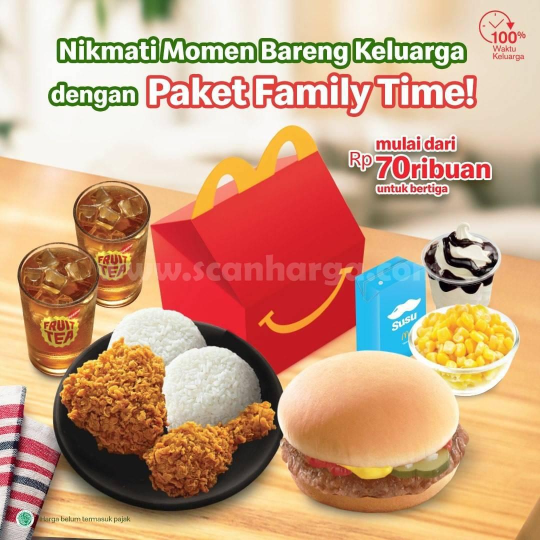 McDonalds Promo Paket Family Time Harga mulai dari Rp. 70ribuan untuk Bertiga
