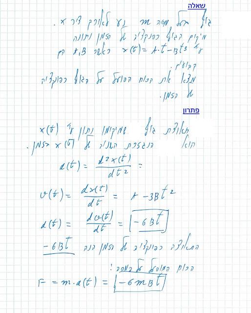החוק השני של ניוטון - חישוב הכוח הפועל על מסה שנתונה העתקתה כפונקציה של הזמן