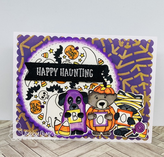 Happy haunting by Debbie features Spooky Roundabout, Halloween Trio, Circle Frames, Frames & Flags, Hoppy Halloween, Candy Corn, and Spiderweb by Newton's Nook Designs; #newtonsnook