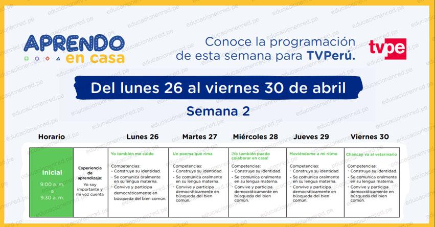 APRENDO EN CASA 2021: Programación del Lunes 26 al Viernes 30 de Abril - MINEDU - TV Perú y Radio Nacional (ACTUALIZADO SEMANA 2) www.aprendoencasa.pe