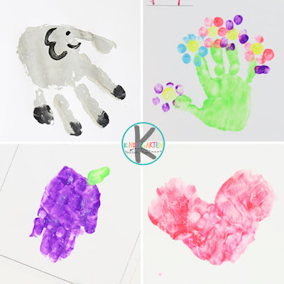 E is for elepehant, F is for flower, g is for grape, h is for heart hand print crafts for kids