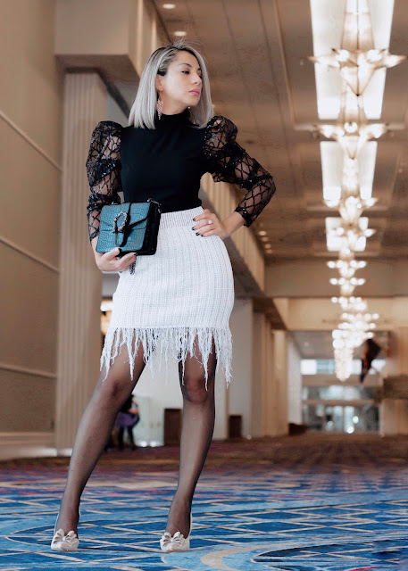 sheer sequin detail top with Fringe skirt