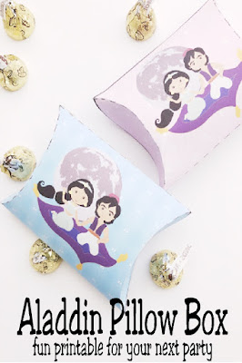 Print this easy and fun Aladdin pillow box for your next Aladdin party or Princess Jasmine party.  It's the perfect party decoration or party favor when filled with yummy treats for all your guests.  #aladdinparty #jasmineparty #princessjasmine #aladdinmovie #diypartymomblog