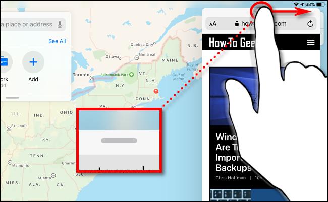 مرر نافذة العرض الجانبي لتختفي على iPad