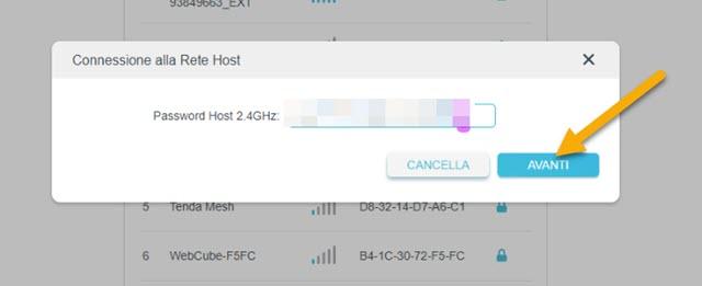 digitazione password del router