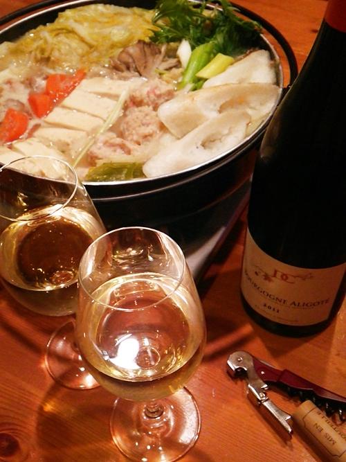 鶏つくね鍋とブルゴーニュアリゴテ☆和な食卓にストライクな一本でした