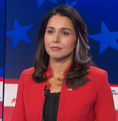 Tulsi Gabbard Democratic presidential primary debate night one 2020 NBC silver grey hair strands