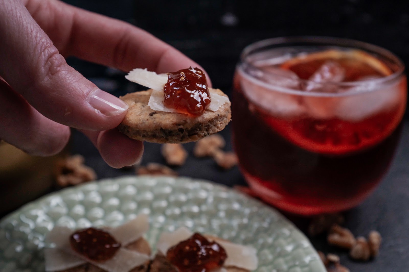 Rosemary Walnut Crackers with Parmesan and fig jam is a perfect snack | Local Food Rocks