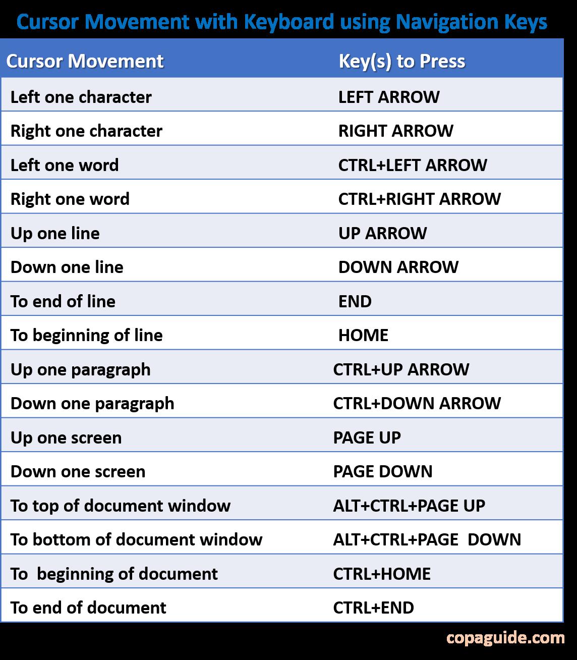 MS Word Navigation Keys