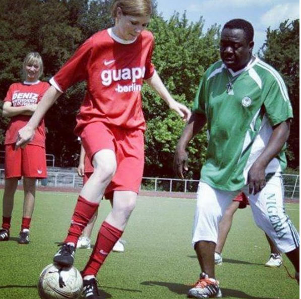 Shame on you (lol)! Mr. Ibu gets dribbled by girl player during football match