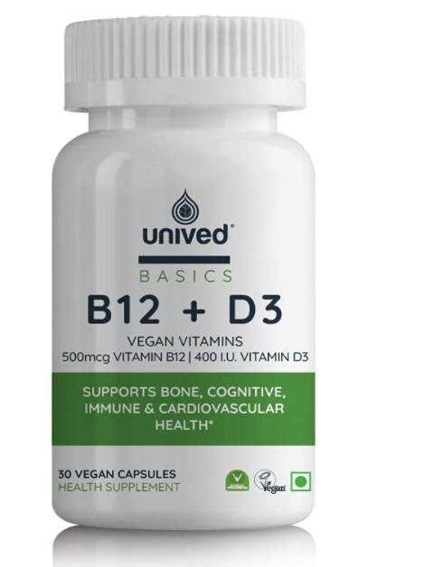 Unived Basics B12+D3 | 500mcg Methylcobalamin (99%), 500mcg Methyltetrahydrofolate (5-MTHF), 400 I.U. Vitamin D3 (Cholecalciferol) | Bone, Cognitive, Immune, & Cardiovascular Support | 30 Vegan Capsules
