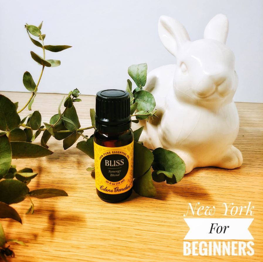 Picture of an essential oil with eucalyptus leaves and a ceramic rabbit