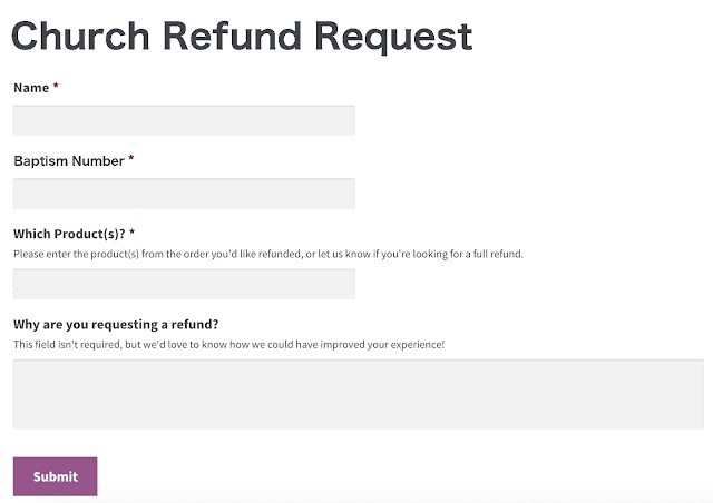 Spoof Church Refund Request Form