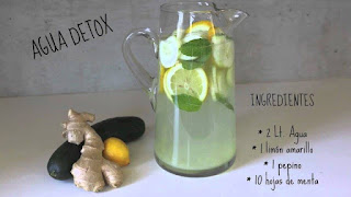 Agua detox limón, jengibre y pepino