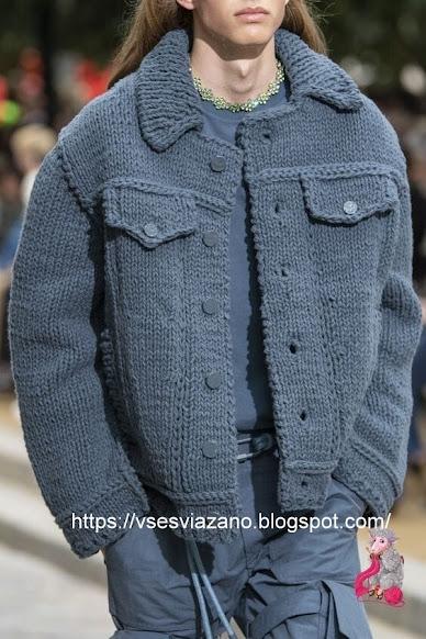 «Джинсовый» бомбер от LOUIS VUITTON. Куртка крупной вязки.