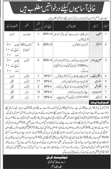 Pak Army FF Regimental Center Abbottabad Latest Jobs in Pakistan Jobs 2021