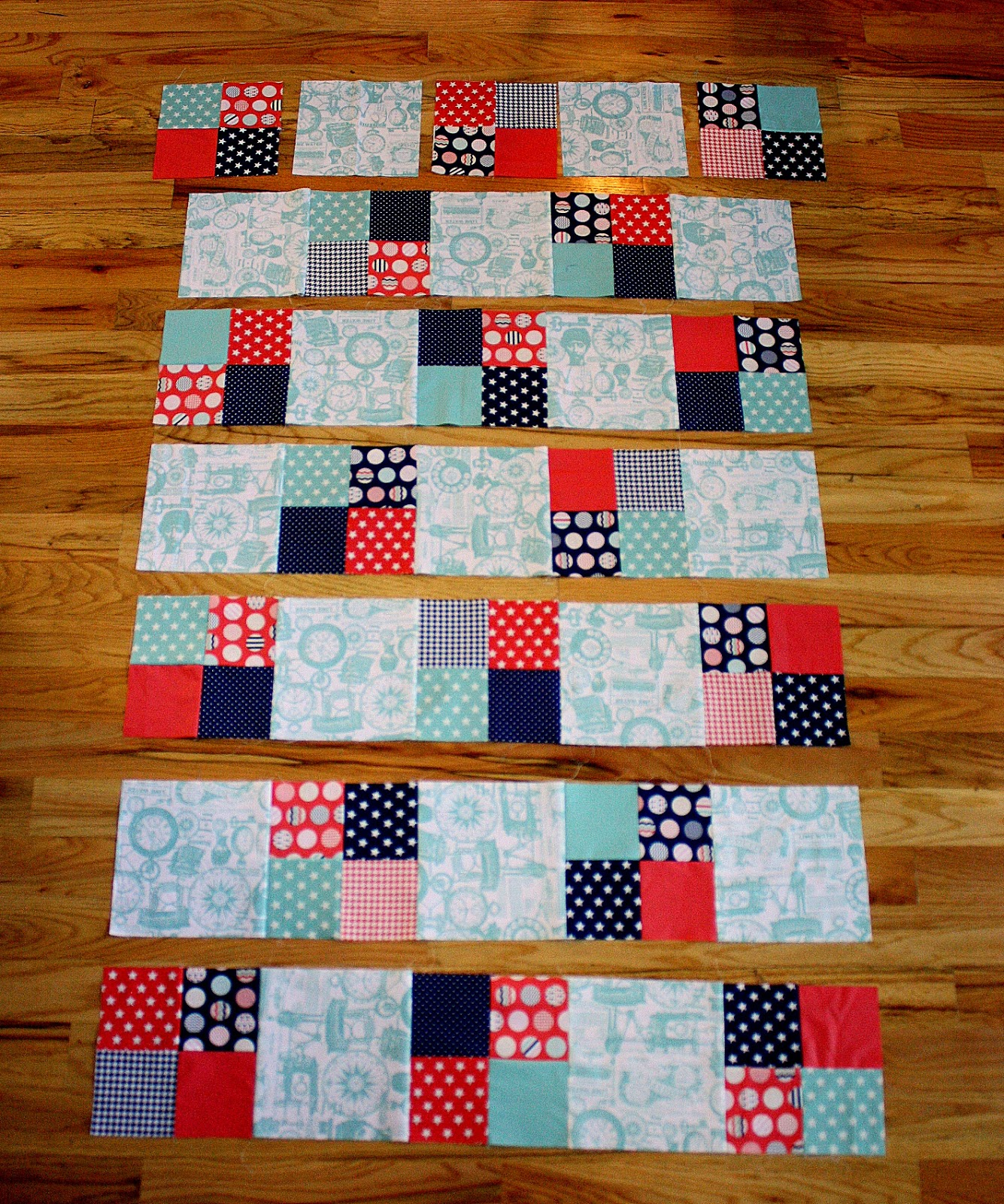 Fast four patch quilt tutorial diary of a quilter a quilt blog sew squares into rows pressing seams toward the 8 12 square blocks this will create nesting seams when you go to sew the rows together and make the jeuxipadfo Gallery