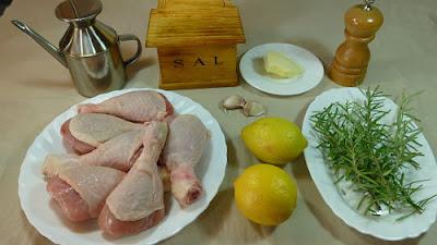Pollo asado al limón y romero. Ingredientes