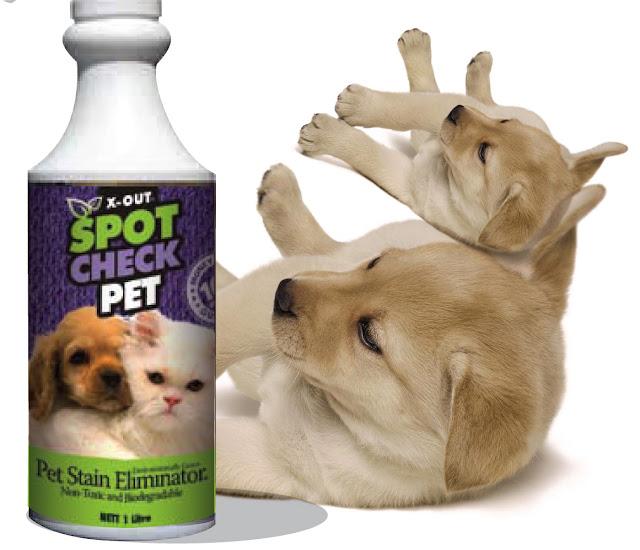 X-OUT Spot Check Pet Spray and Labrador Puppy