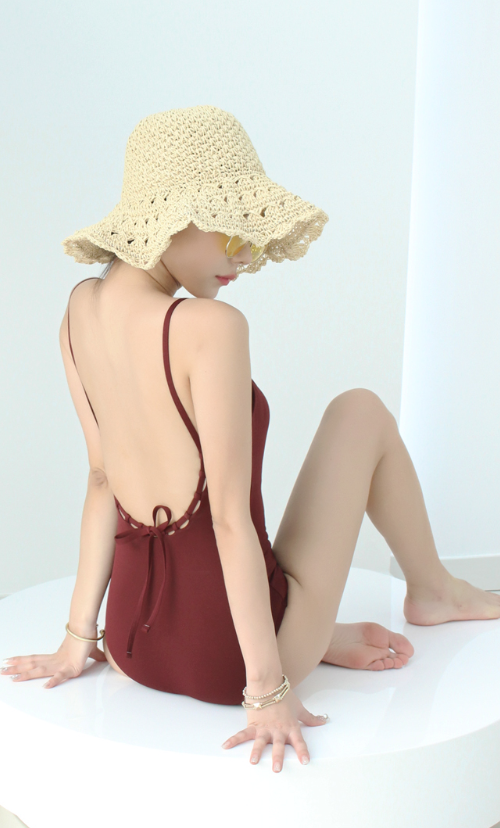 Scooped Back Solid Tone Swimsuit