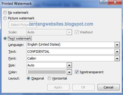 cara membuat watermark di word 2007