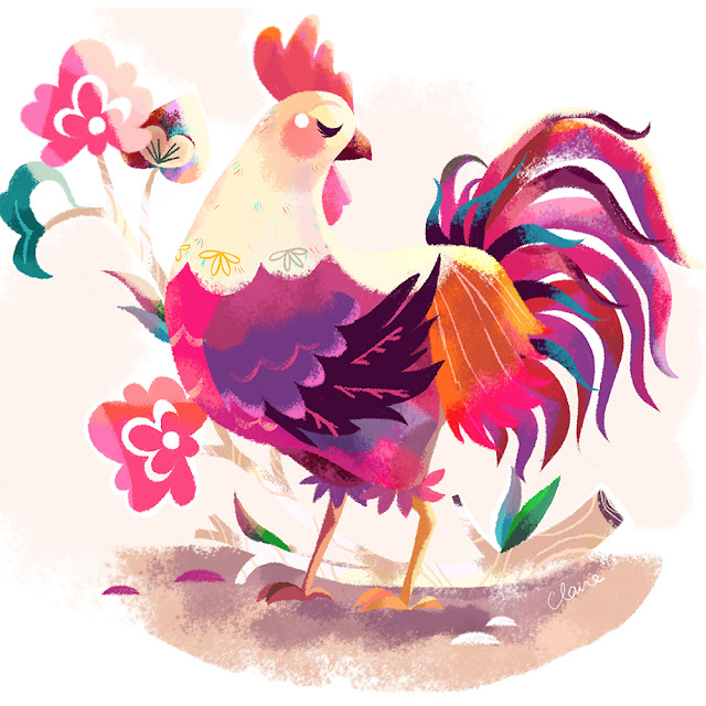 Chinese New Year Rooster 2017 Illustration Claire O'Brien