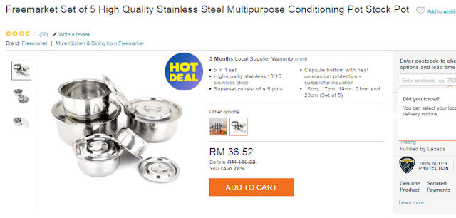 Stainless Steel Multipurpose Conditioning Pot Stock, Periuk, shopping online, lazada,