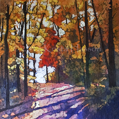 Fall Shadows Watercolor on Rice Paper by Krista Hasson