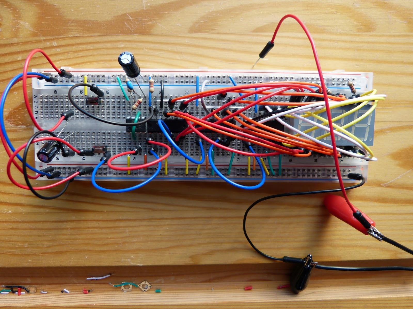 March 2015 555 Bistable Breadboard Basic Toggle Circuit Built On With The Timer Included However Two Capacitors Above Were Exchanged