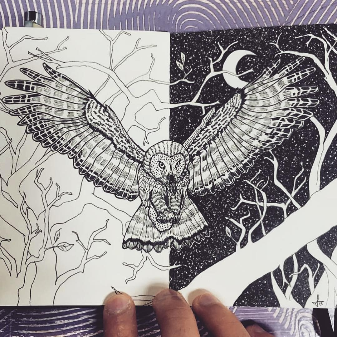 02-Day-and-Night-Francisco-Del-Carpio-Moleskine-Black-and-White-Ink-Drawings-www-designstack-co