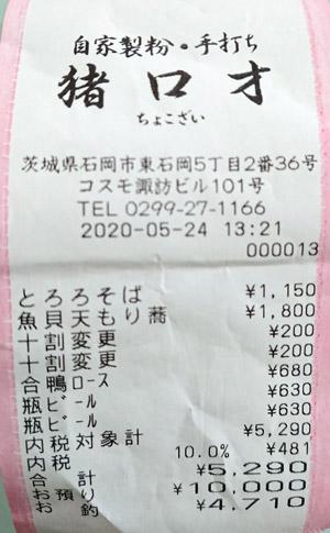 猪口才 2020/5/24 飲食のレシート