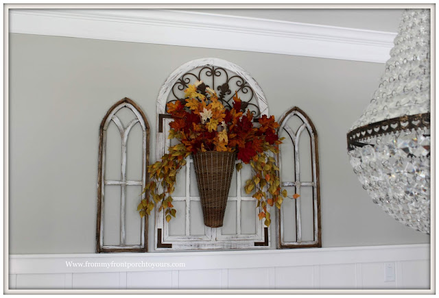 Fall Dining Room-French Country-Fall Leaves Arrangement-Basket-Vignette-From My Front Porch To Yours