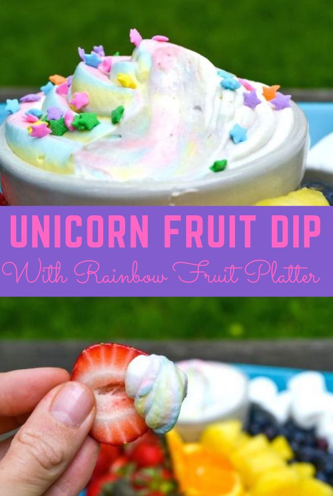 Unicorn Fruit Dip and Rainbow Fruit Platter #rainbow #fruit
