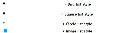 Styling List li Elements To Square, Circle and Image